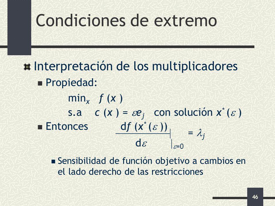 46 Condiciones de extremo Interpretación de los multiplicadores Propiedad: min x f (x ) s.a c (x ) = e j con solución x * ( ) Entonces df (x * ( )) =
