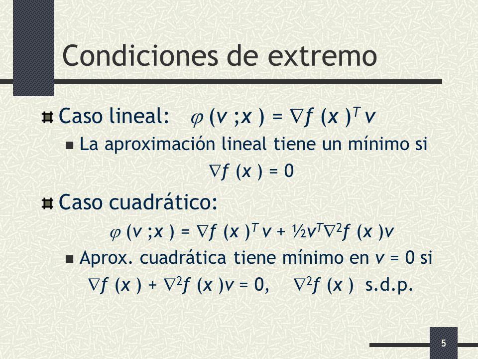 5 Condiciones de extremo Caso lineal: (v ;x ) = f (x ) T v La aproximación lineal tiene un mínimo si f (x ) = 0 Caso cuadrático: (v ;x ) = f (x ) T v