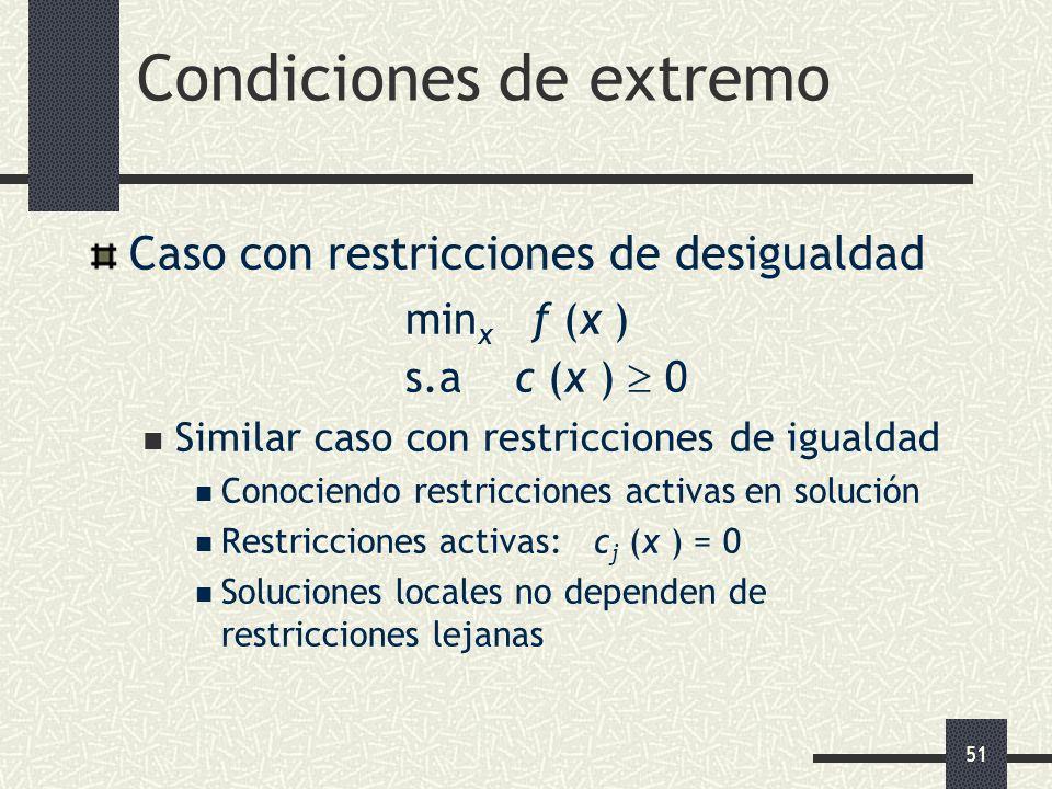 51 Condiciones de extremo Caso con restricciones de desigualdad min x f (x ) s.a c (x ) 0 Similar caso con restricciones de igualdad Conociendo restri