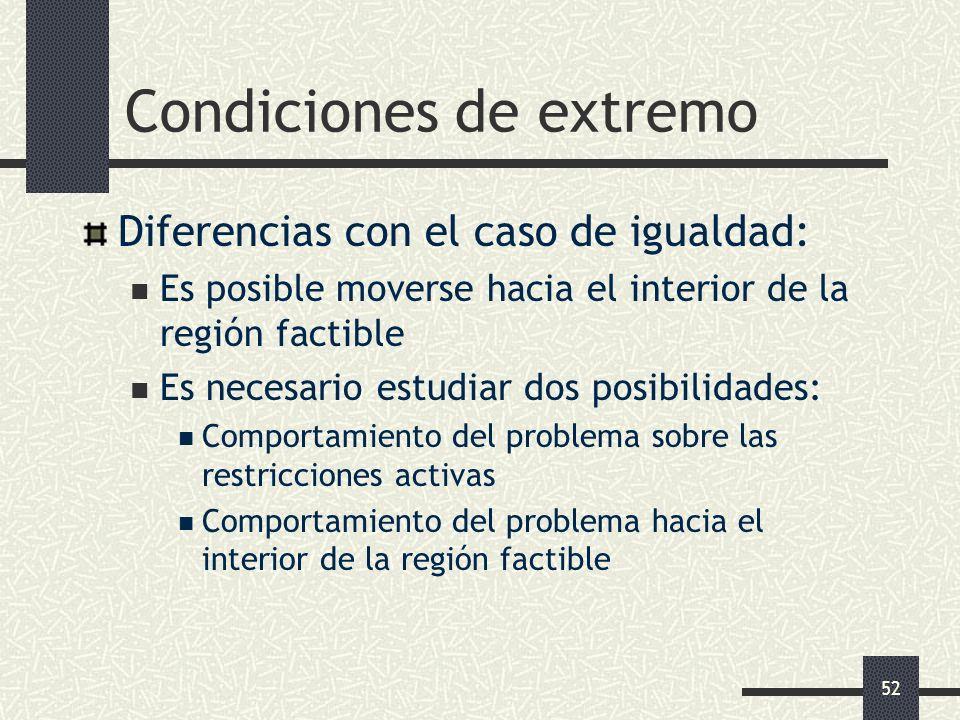 52 Condiciones de extremo Diferencias con el caso de igualdad: Es posible moverse hacia el interior de la región factible Es necesario estudiar dos po