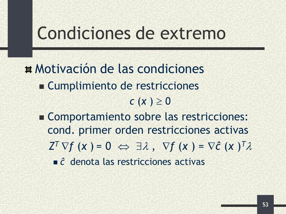 53 Condiciones de extremo Motivación de las condiciones Cumplimiento de restricciones c (x ) 0 Comportamiento sobre las restricciones: cond. primer or
