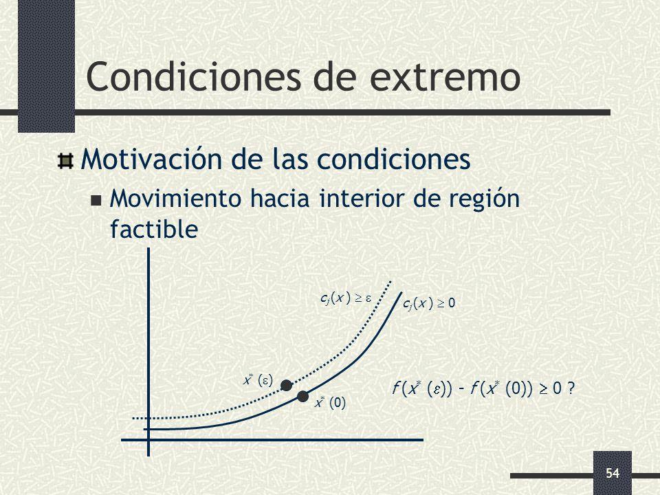 54 Condiciones de extremo Motivación de las condiciones Movimiento hacia interior de región factible c j (x ) 0 c j (x ) x * (0) x * ( ) f (x * ( )) -