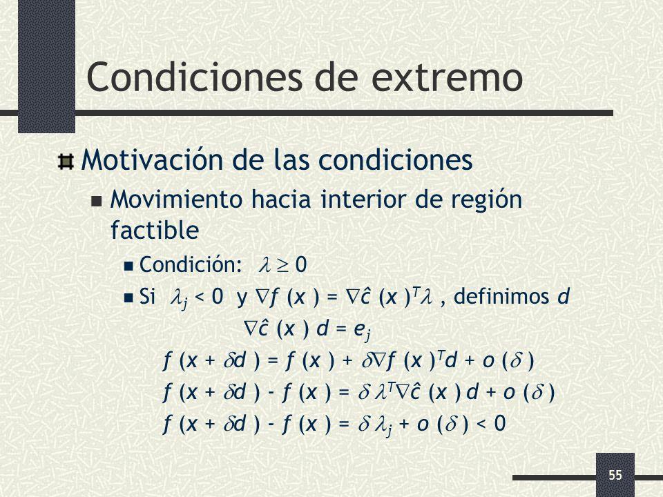 55 Condiciones de extremo Motivación de las condiciones Movimiento hacia interior de región factible Condición: 0 Si j < 0 y f (x ) = ĉ (x ) T, defini
