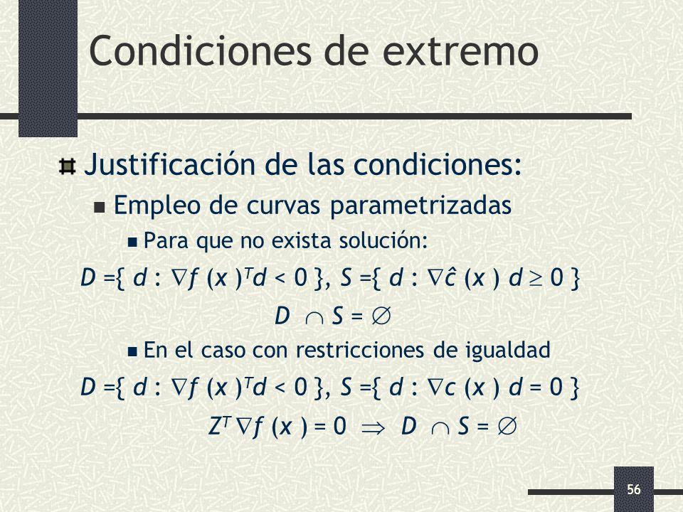 56 Condiciones de extremo Justificación de las condiciones: Empleo de curvas parametrizadas Para que no exista solución: D ={ d : f (x ) T d < 0 }, S