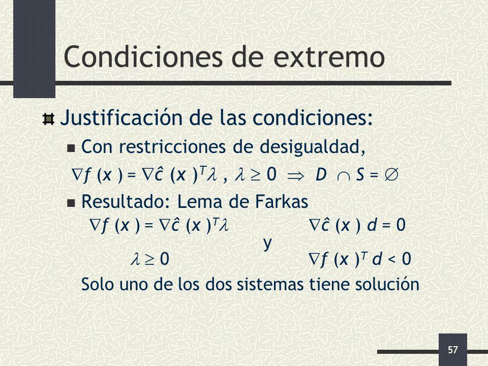 57 Condiciones de extremo Justificación de las condiciones: Con restricciones de desigualdad, f (x ) = ĉ (x ) T, 0 D S = Resultado: Lema de Farkas f (