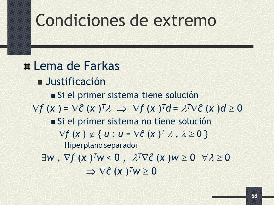 58 Condiciones de extremo Lema de Farkas Justificación Si el primer sistema tiene solución f (x ) = ĉ (x ) T f (x ) T d = T ĉ (x )d 0 Si el primer sis