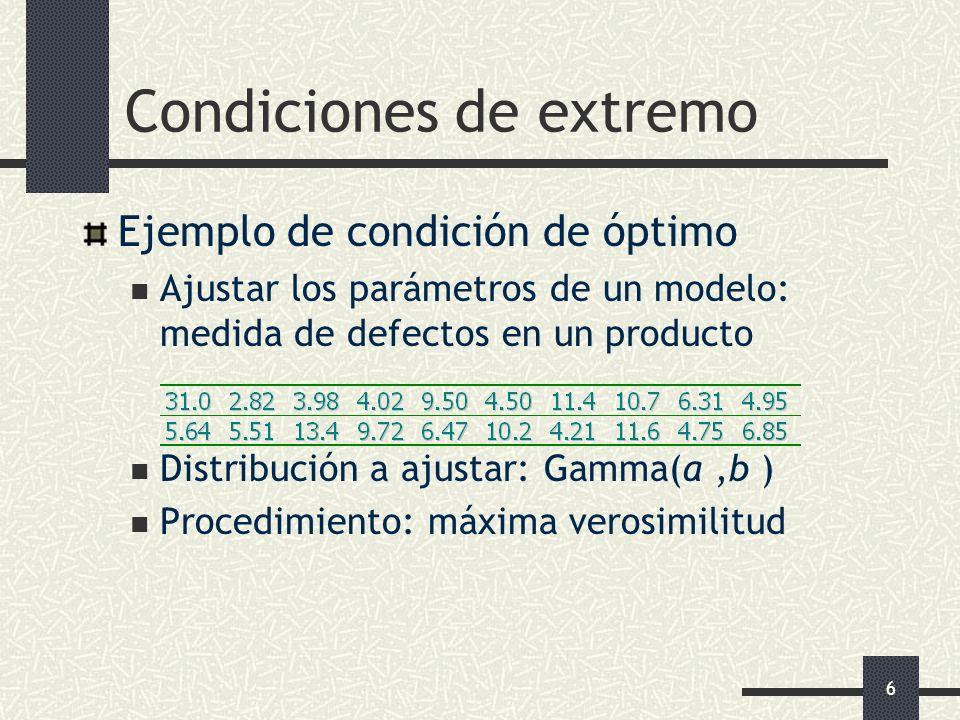 6 Condiciones de extremo Ejemplo de condición de óptimo Ajustar los parámetros de un modelo: medida de defectos en un producto Distribución a ajustar: