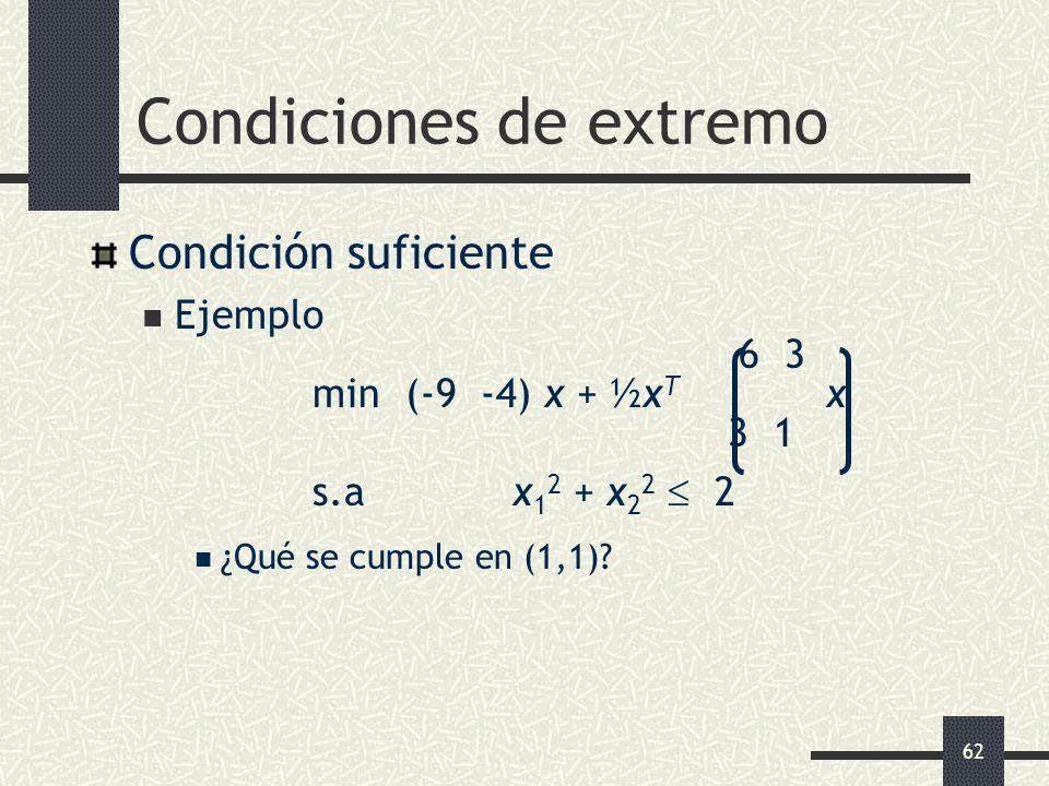 62 Condiciones de extremo Condición suficiente Ejemplo 6 3 min (-9 -4) x + ½x T x 3 1 s.a x 1 2 + x 2 2 2 ¿Qué se cumple en (1,1)?