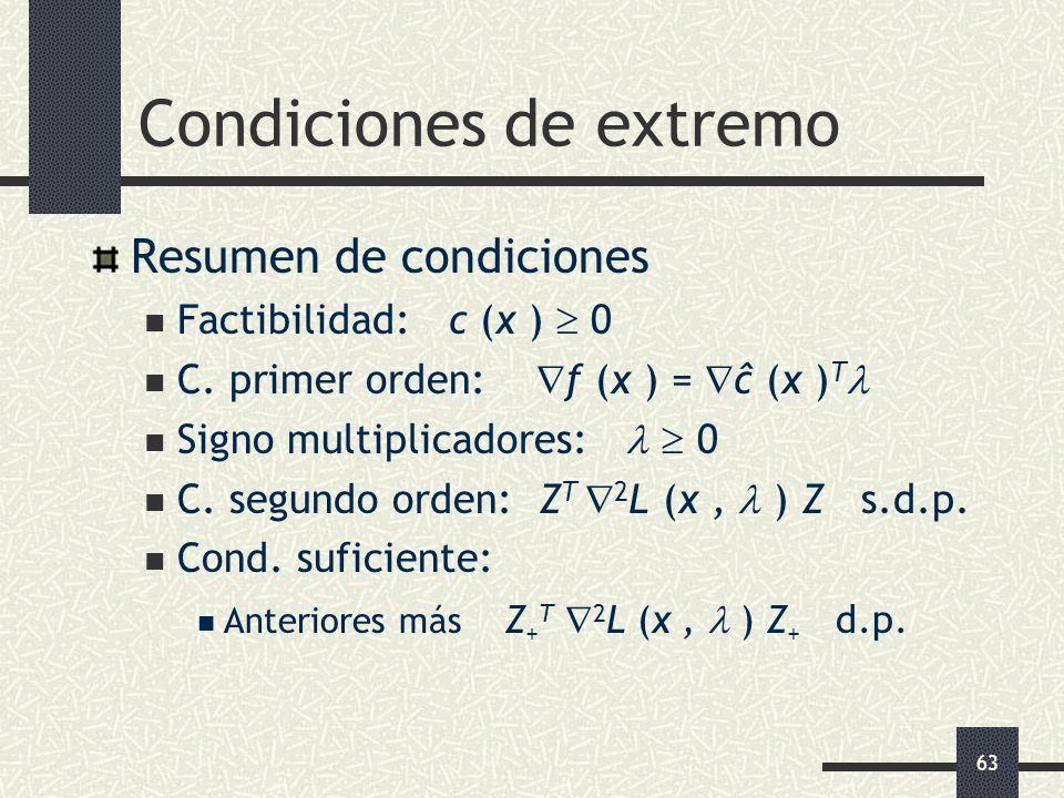 63 Condiciones de extremo Resumen de condiciones Factibilidad: c (x ) 0 C. primer orden: f (x ) = ĉ (x ) T Signo multiplicadores: 0 C. segundo orden: