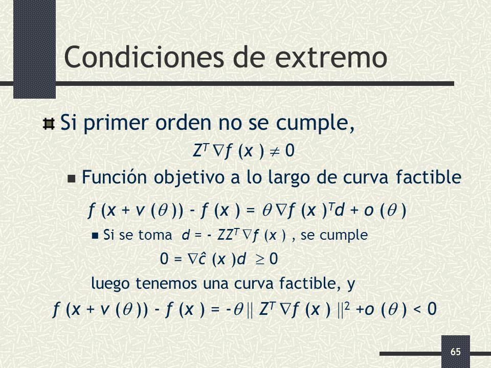 65 Condiciones de extremo Si primer orden no se cumple, Z T f (x ) 0 Función objetivo a lo largo de curva factible f (x + v ( )) - f (x ) = f (x ) T d