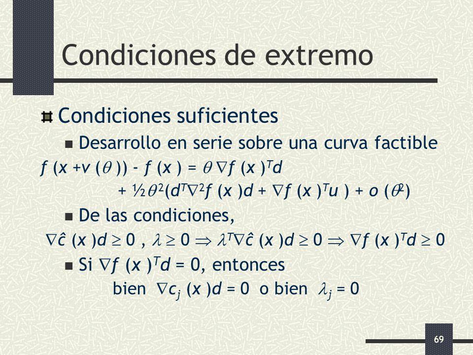 69 Condiciones de extremo Condiciones suficientes Desarrollo en serie sobre una curva factible f (x +v ( )) - f (x ) = f (x ) T d + ½ 2 (d T 2 f (x )d