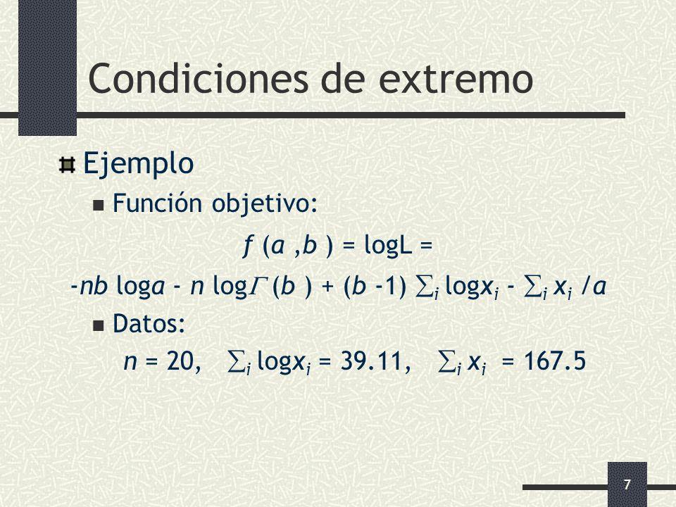 7 Condiciones de extremo Ejemplo Función objetivo: f (a,b ) = logL = -nb loga - n log (b ) + (b -1) i logx i - i x i /a Datos: n = 20, i logx i = 39.1