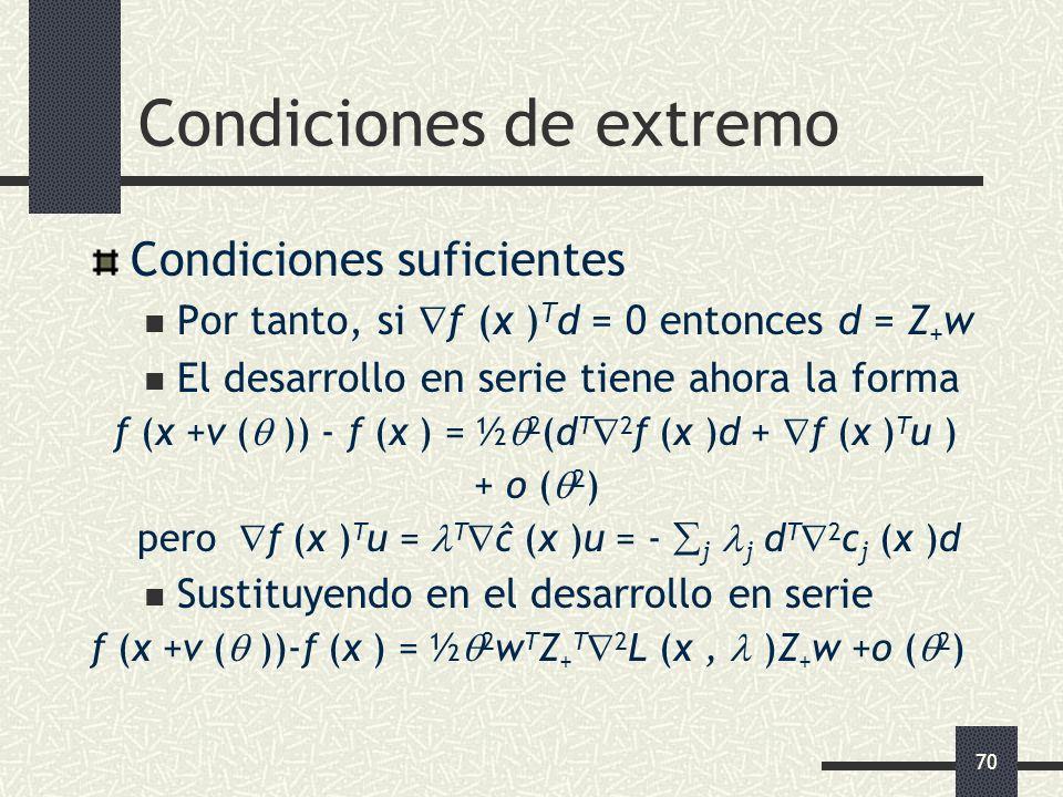 70 Condiciones de extremo Condiciones suficientes Por tanto, si f (x ) T d = 0 entonces d = Z + w El desarrollo en serie tiene ahora la forma f (x +v