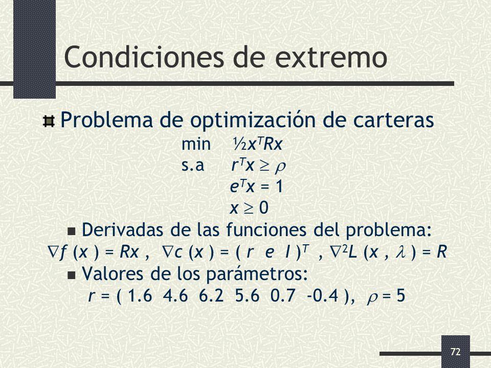 72 Condiciones de extremo Problema de optimización de carteras min ½x T Rx s.a r T x e T x = 1 x 0 Derivadas de las funciones del problema: f (x ) = R