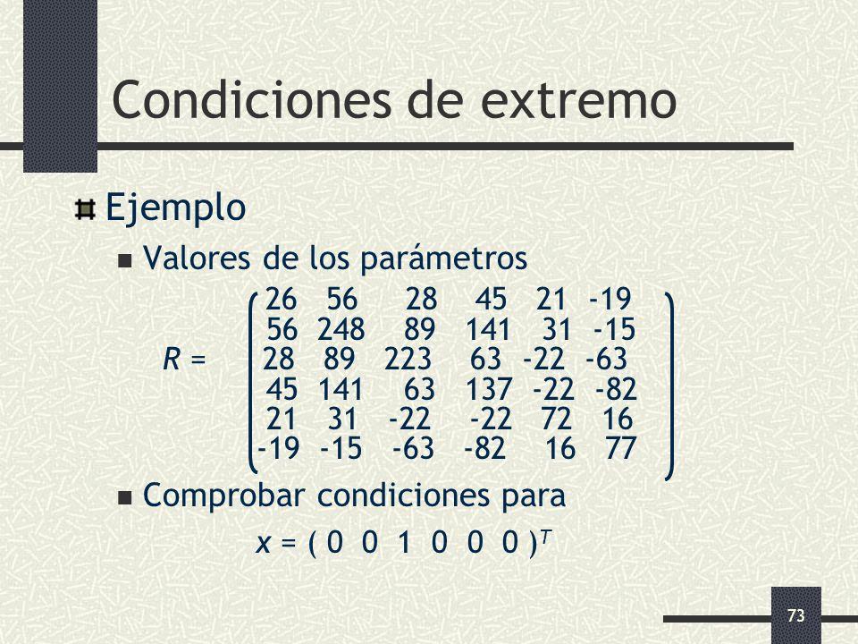 73 Condiciones de extremo Ejemplo Valores de los parámetros 26 56 28 45 21 -19 56 248 89 141 31 -15 R = 28 89 223 63 -22 -63 45 141 63 137 -22 -82 21