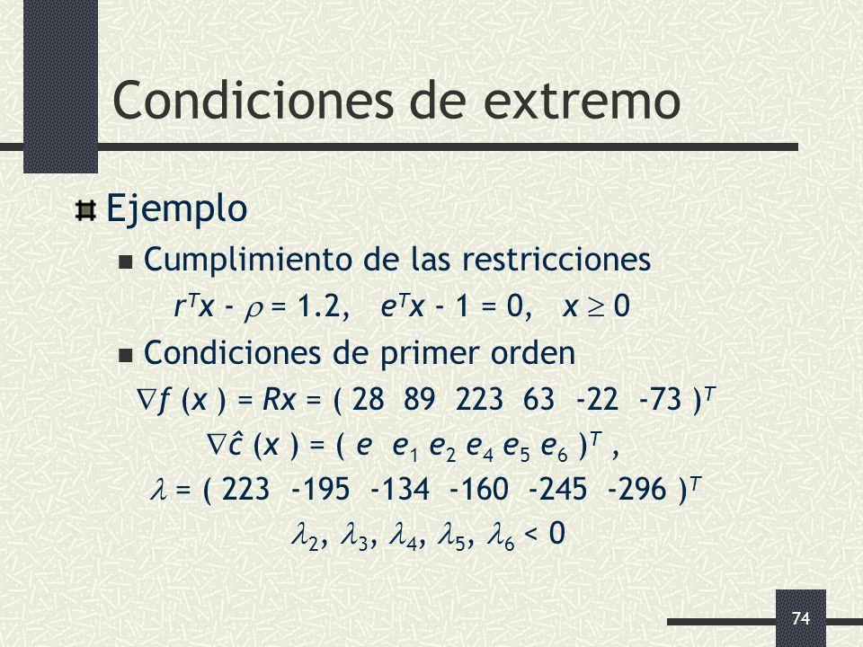 74 Condiciones de extremo Ejemplo Cumplimiento de las restricciones r T x - = 1.2, e T x - 1 = 0, x 0 Condiciones de primer orden f (x ) = Rx = ( 28 8