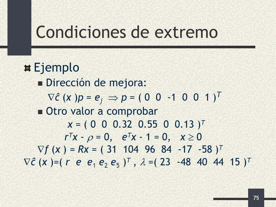 75 Condiciones de extremo Ejemplo Dirección de mejora: ĉ (x )p = e j p = ( 0 0 -1 0 0 1 ) T Otro valor a comprobar x = ( 0 0 0.32 0.55 0 0.13 ) T r T