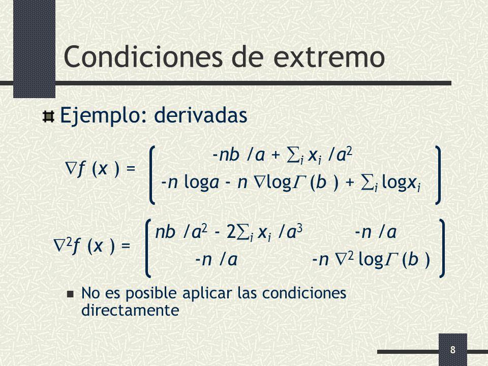 8 Condiciones de extremo Ejemplo: derivadas -nb /a + i x i /a 2 f (x ) = -n loga - n log (b ) + i logx i nb /a 2 - 2 i x i /a 3 -n /a 2 f (x ) = -n /a