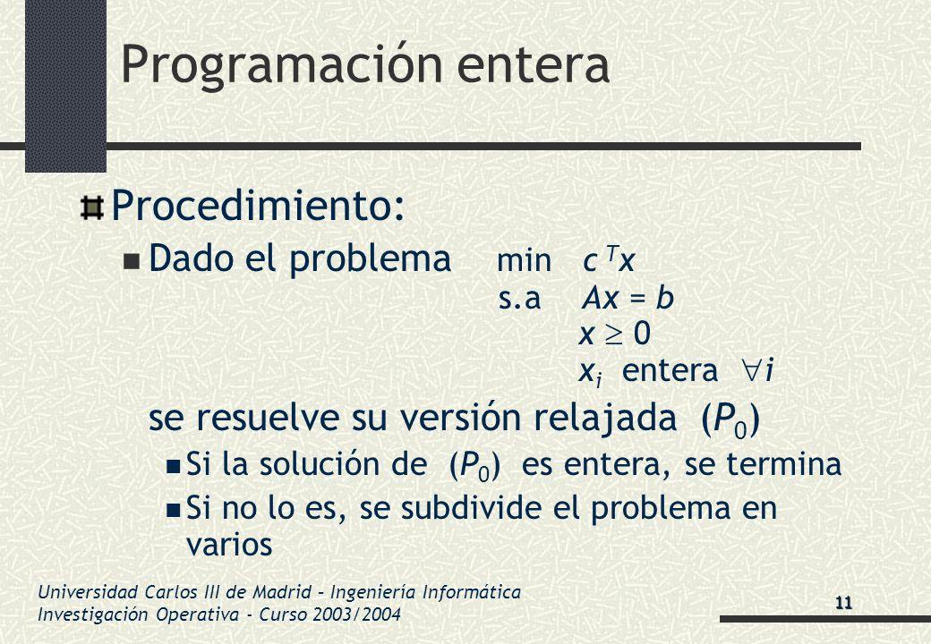 Universidad Carlos III de Madrid – Ingeniería Informática Investigación Operativa - Curso 2003/2004 Programación entera Procedimiento: Dado el problem