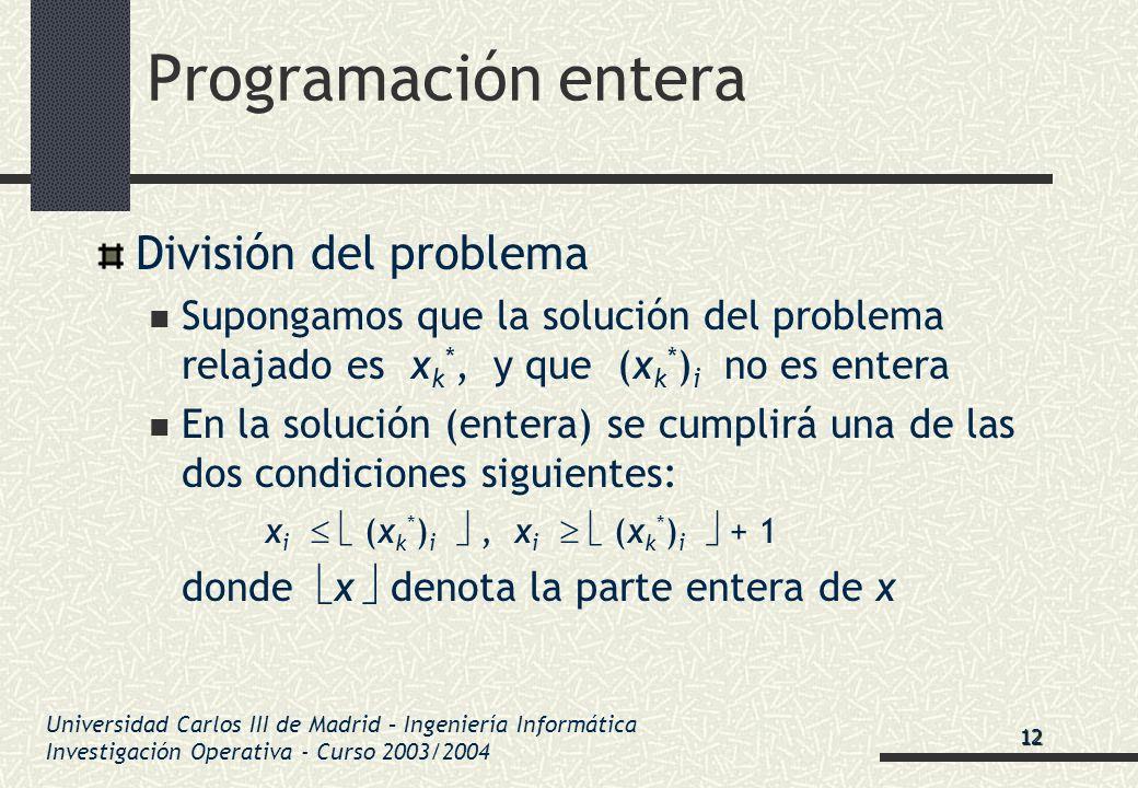 Universidad Carlos III de Madrid – Ingeniería Informática Investigación Operativa - Curso 2003/2004 Programación entera División del problema Supongam