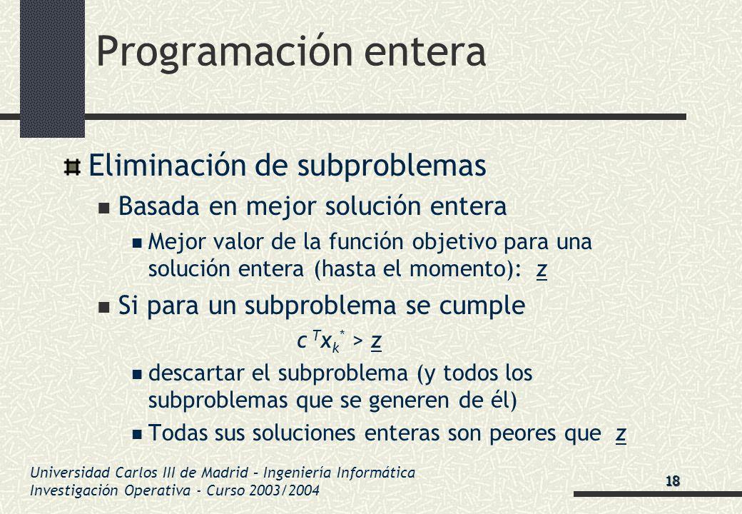 Universidad Carlos III de Madrid – Ingeniería Informática Investigación Operativa - Curso 2003/2004 Programación entera Eliminación de subproblemas Ba