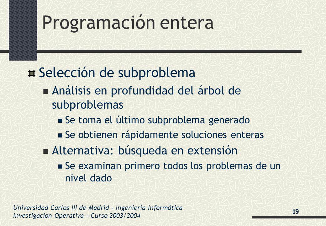 Universidad Carlos III de Madrid – Ingeniería Informática Investigación Operativa - Curso 2003/2004 Programación entera Selección de subproblema Análi