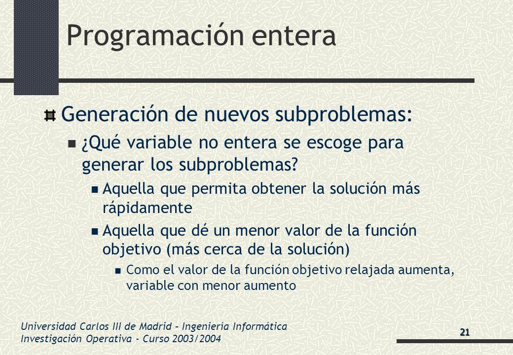 Universidad Carlos III de Madrid – Ingeniería Informática Investigación Operativa - Curso 2003/2004 Programación entera Generación de nuevos subproble