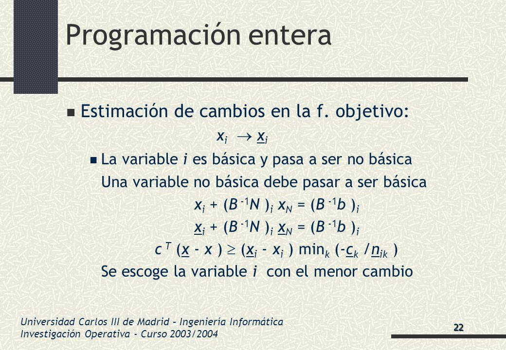 Universidad Carlos III de Madrid – Ingeniería Informática Investigación Operativa - Curso 2003/2004 Programación entera Estimación de cambios en la f.