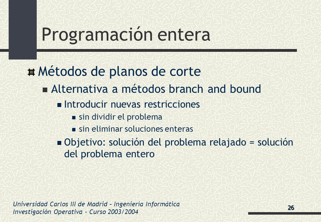 Universidad Carlos III de Madrid – Ingeniería Informática Investigación Operativa - Curso 2003/2004 Programación entera Métodos de planos de corte Alt