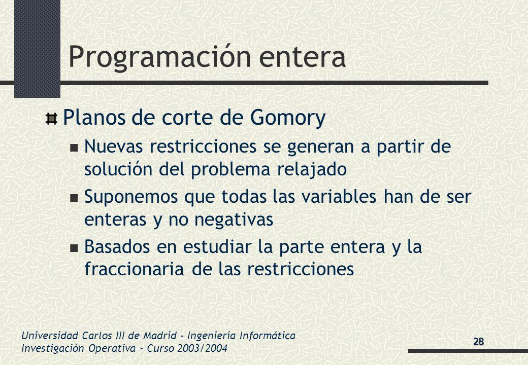 Universidad Carlos III de Madrid – Ingeniería Informática Investigación Operativa - Curso 2003/2004 Programación entera Planos de corte de Gomory Nuev