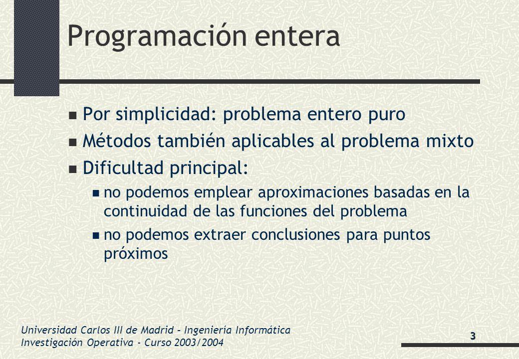 Universidad Carlos III de Madrid – Ingeniería Informática Investigación Operativa - Curso 2003/2004 Programación entera Por simplicidad: problema ente