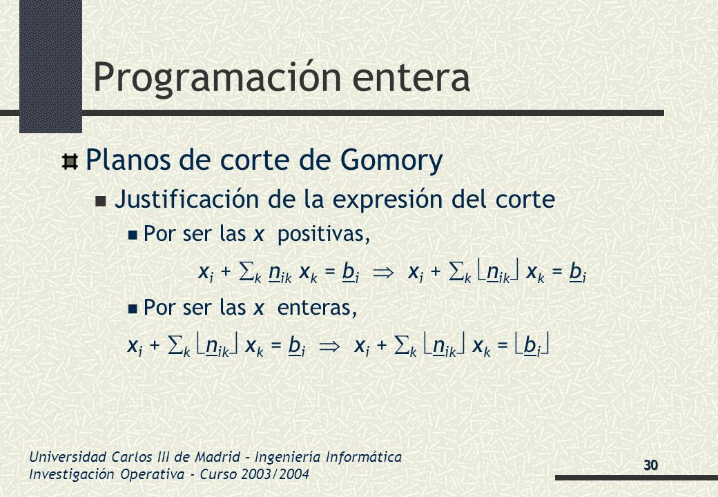 Universidad Carlos III de Madrid – Ingeniería Informática Investigación Operativa - Curso 2003/2004 Programación entera Planos de corte de Gomory Just