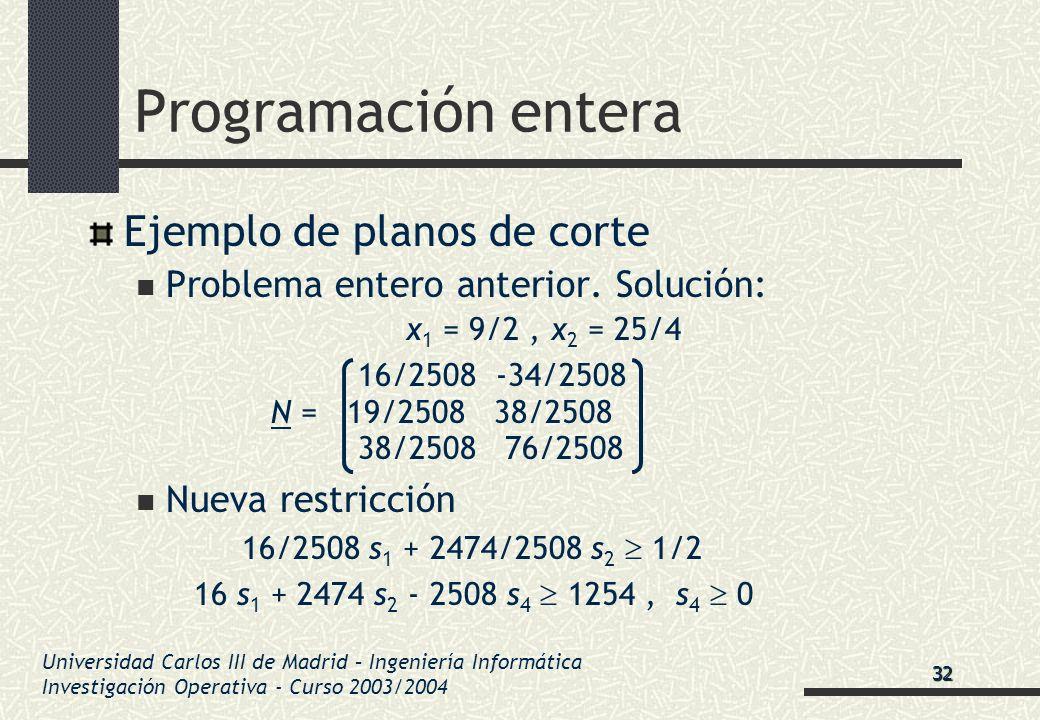 Universidad Carlos III de Madrid – Ingeniería Informática Investigación Operativa - Curso 2003/2004 Programación entera Ejemplo de planos de corte Pro