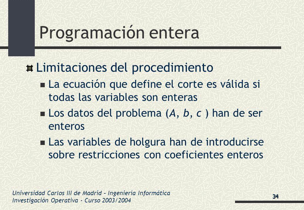 Universidad Carlos III de Madrid – Ingeniería Informática Investigación Operativa - Curso 2003/2004 Programación entera Limitaciones del procedimiento