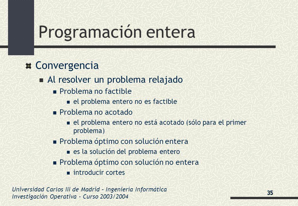Universidad Carlos III de Madrid – Ingeniería Informática Investigación Operativa - Curso 2003/2004 Programación entera Convergencia Al resolver un pr
