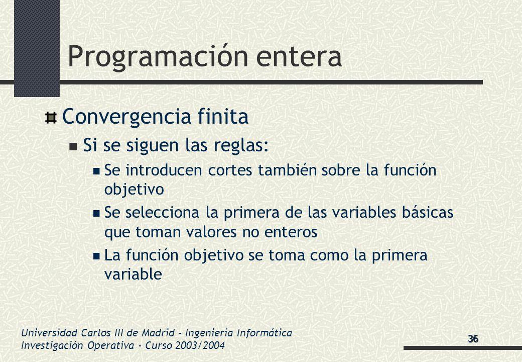 Universidad Carlos III de Madrid – Ingeniería Informática Investigación Operativa - Curso 2003/2004 Programación entera Convergencia finita Si se sigu