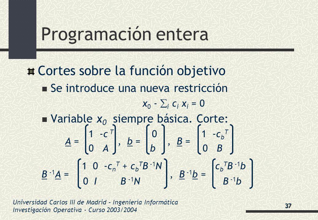 Universidad Carlos III de Madrid – Ingeniería Informática Investigación Operativa - Curso 2003/2004 Programación entera Cortes sobre la función objeti