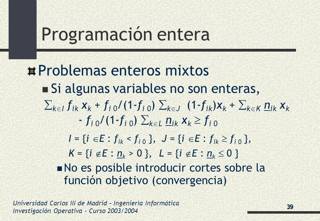 Universidad Carlos III de Madrid – Ingeniería Informática Investigación Operativa - Curso 2003/2004 Programación entera Problemas enteros mixtos Si al