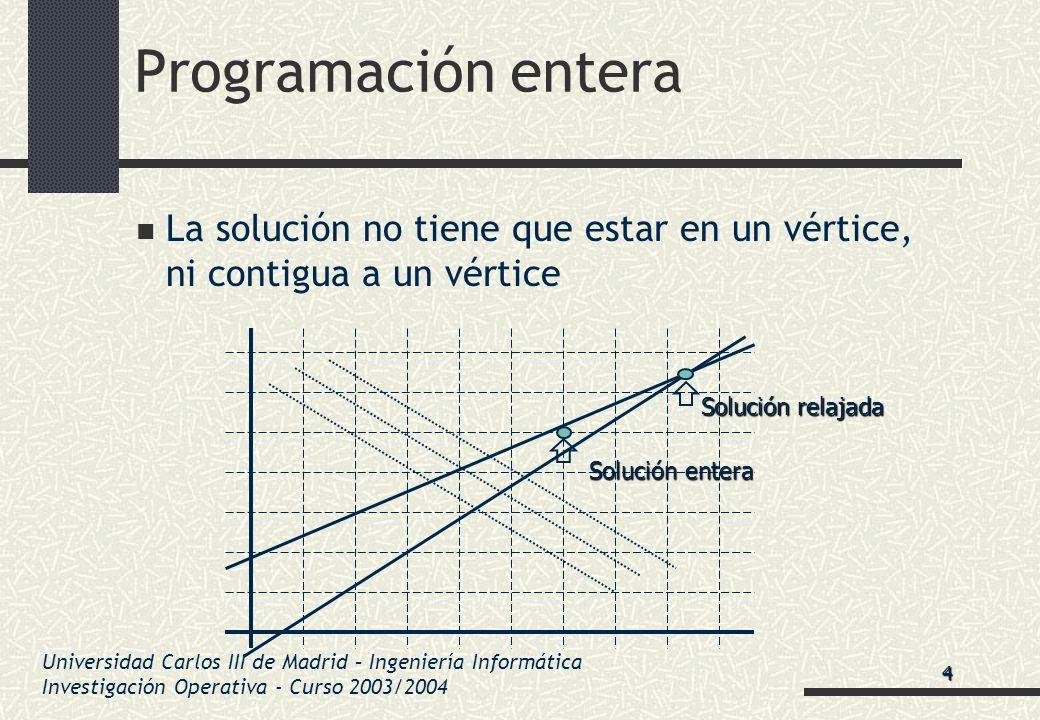 Universidad Carlos III de Madrid – Ingeniería Informática Investigación Operativa - Curso 2003/2004 Programación entera La solución no tiene que estar