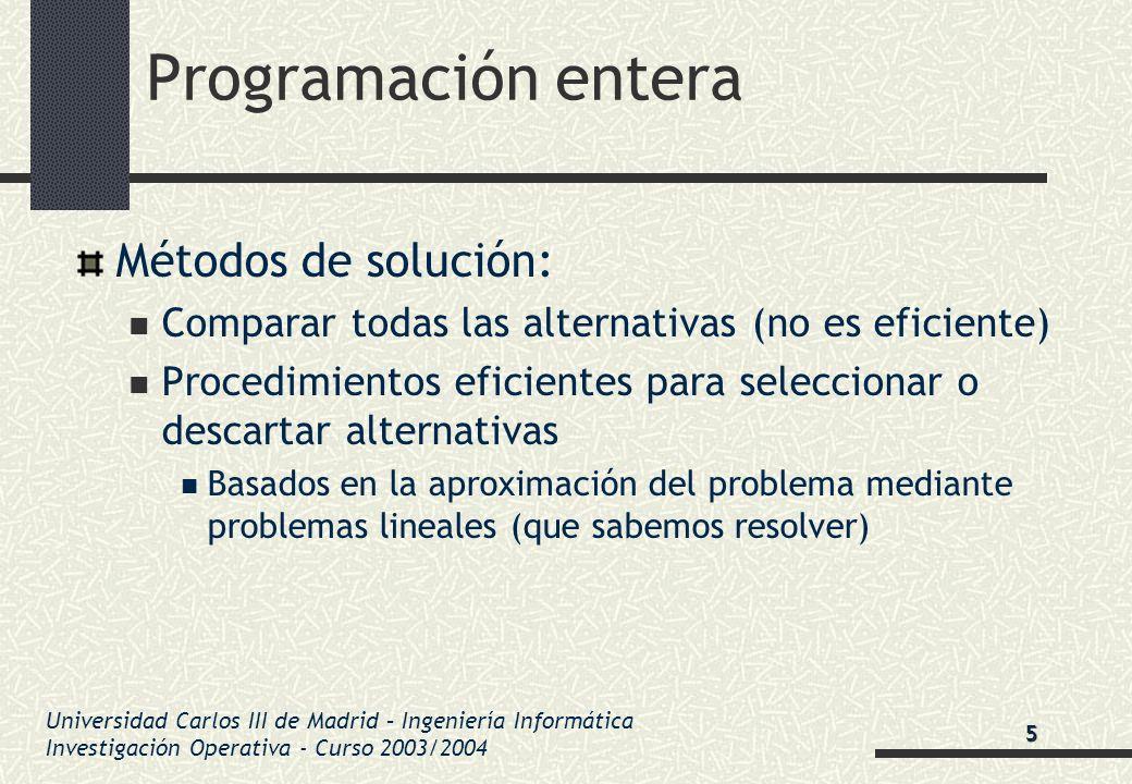 Universidad Carlos III de Madrid – Ingeniería Informática Investigación Operativa - Curso 2003/2004 Programación entera Métodos de solución: Comparar