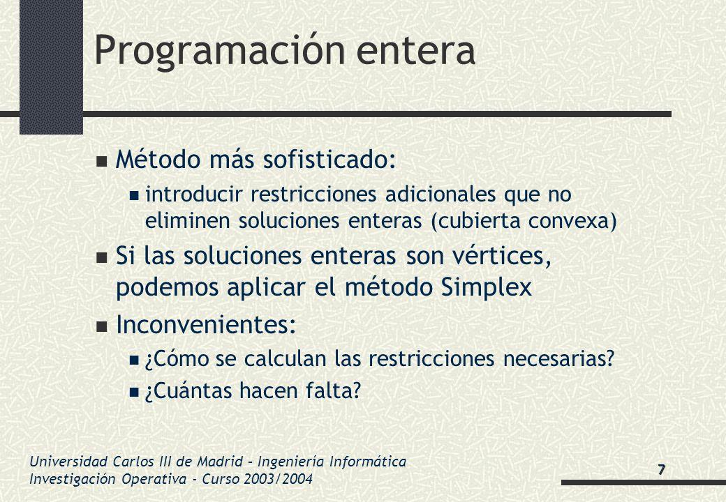 Universidad Carlos III de Madrid – Ingeniería Informática Investigación Operativa - Curso 2003/2004 Programación entera Método más sofisticado: introd