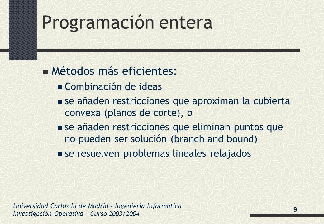 Universidad Carlos III de Madrid – Ingeniería Informática Investigación Operativa - Curso 2003/2004 Programación entera Métodos más eficientes: Combin