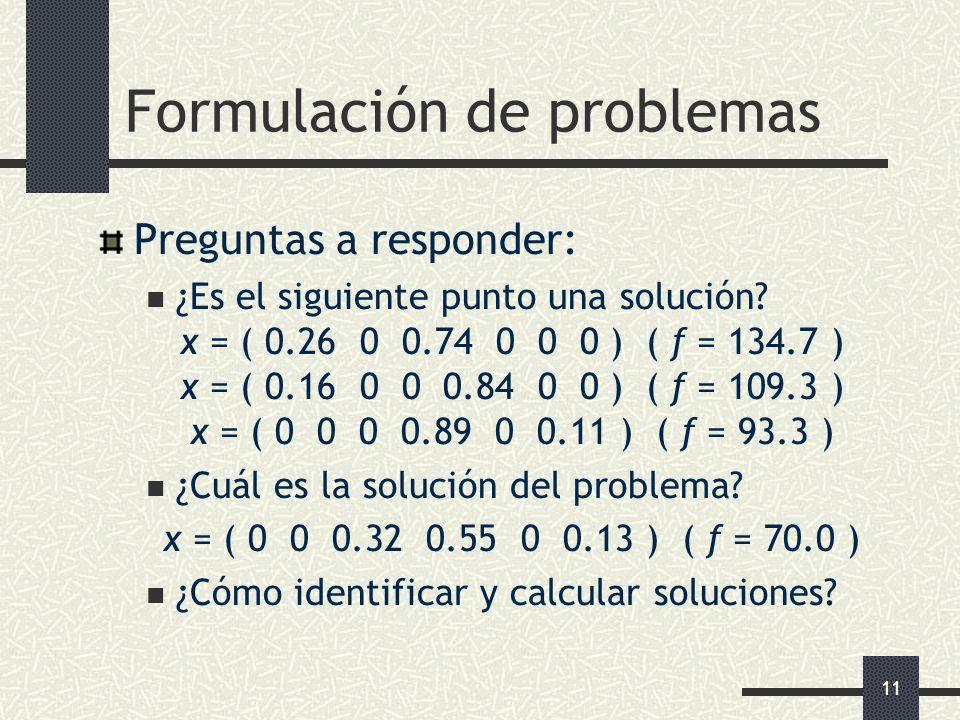 11 Formulación de problemas Preguntas a responder: ¿Es el siguiente punto una solución? x = ( 0.26 0 0.74 0 0 0 ) ( f = 134.7 ) x = ( 0.16 0 0 0.84 0