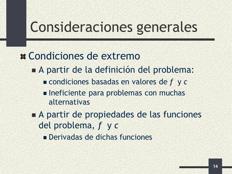 14 Consideraciones generales Condiciones de extremo A partir de la definición del problema: condiciones basadas en valores de f y c Ineficiente para p