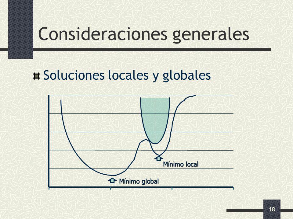 18 Consideraciones generales Soluciones locales y globales Mínimo global Mínimo local