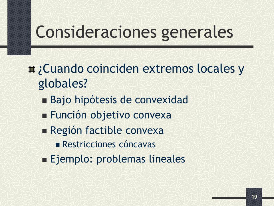 19 Consideraciones generales ¿Cuando coinciden extremos locales y globales? Bajo hipótesis de convexidad Función objetivo convexa Región factible conv