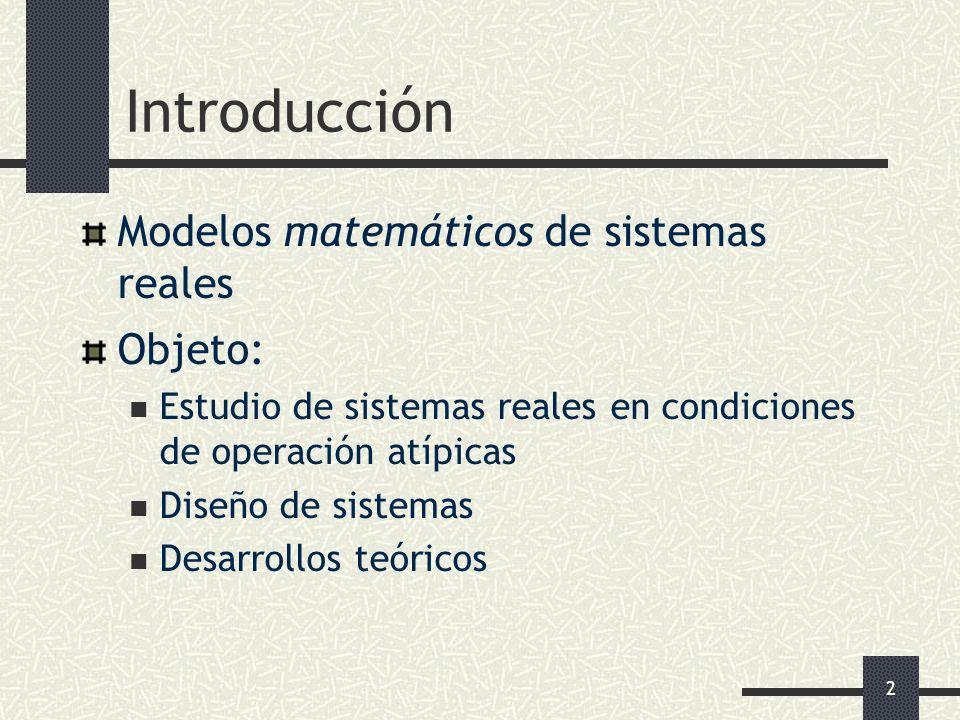 2 Introducción Modelos matemáticos de sistemas reales Objeto: Estudio de sistemas reales en condiciones de operación atípicas Diseño de sistemas Desar