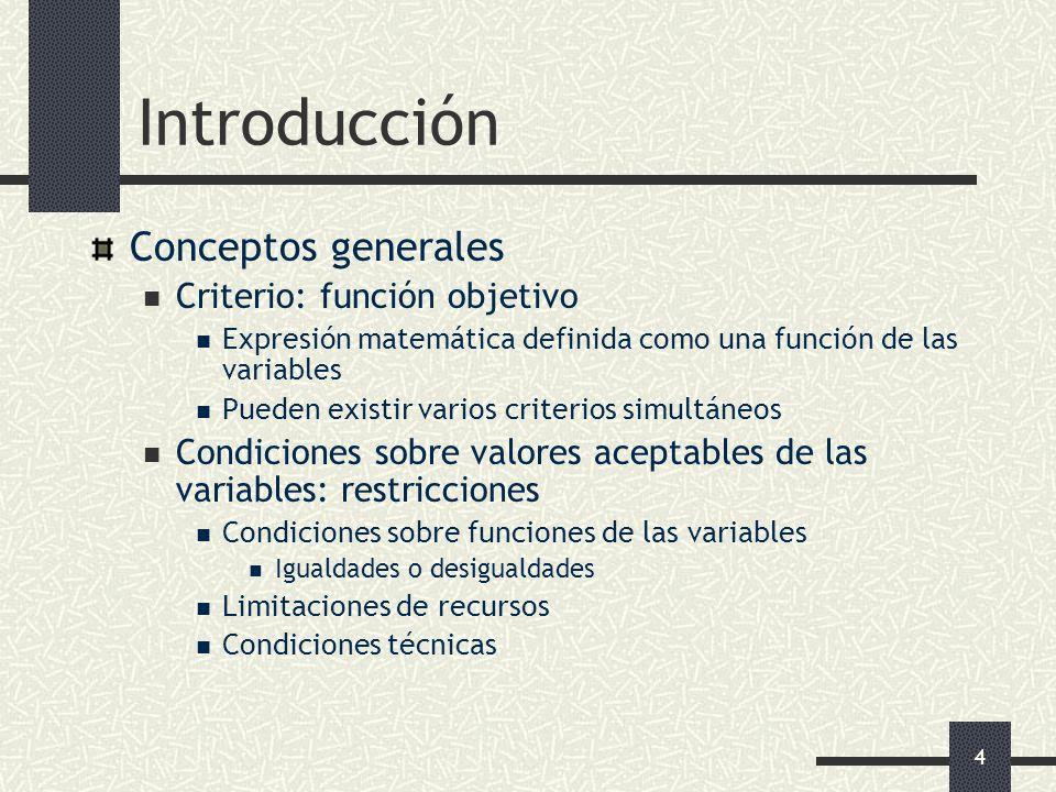 4 Introducción Conceptos generales Criterio: función objetivo Expresión matemática definida como una función de las variables Pueden existir varios cr