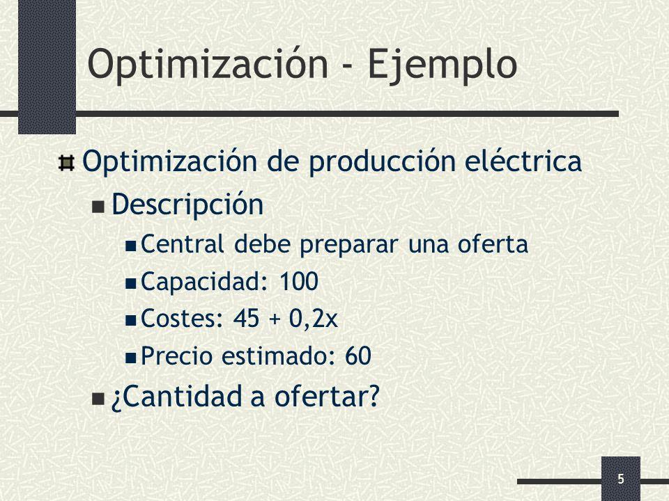5 Optimización de producción eléctrica Descripción Central debe preparar una oferta Capacidad: 100 Costes: 45 + 0,2x Precio estimado: 60 ¿Cantidad a o