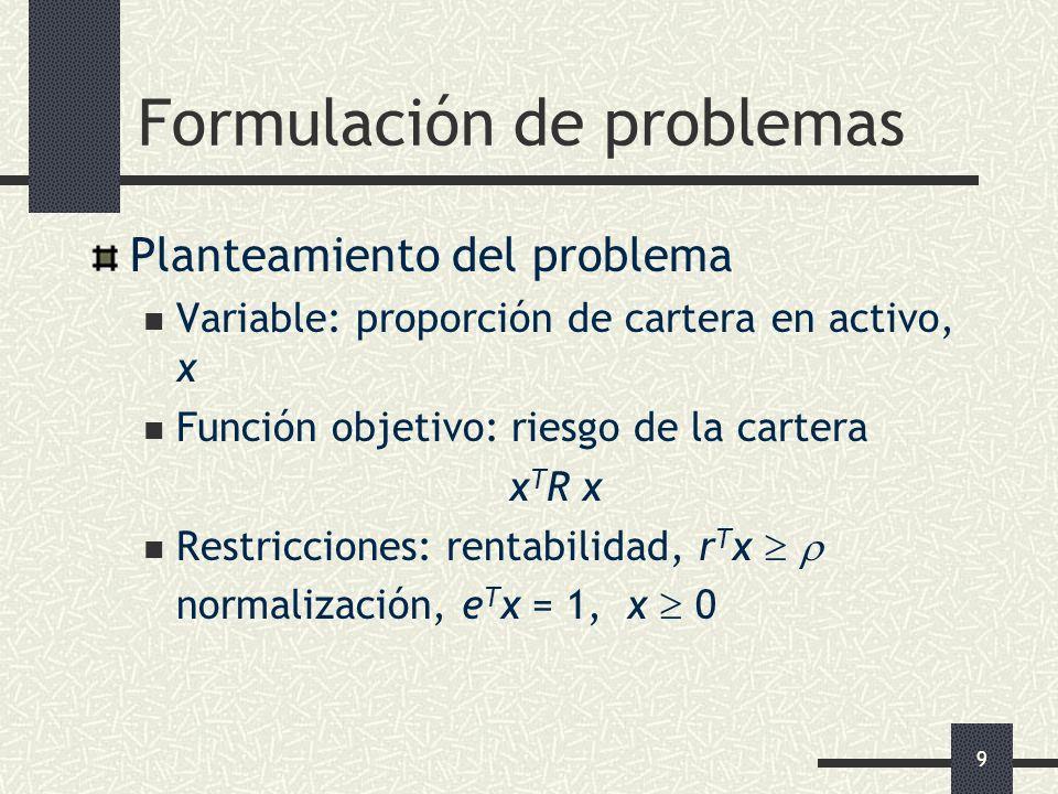 9 Formulación de problemas Planteamiento del problema Variable: proporción de cartera en activo, x Función objetivo: riesgo de la cartera x T R x Rest